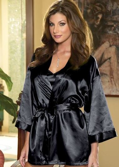 the Shalimar Robe Lingerie Set babydoll chemise accompanied by a matching kimono-style robe. is just $32.95 + free shipping at 3wiehs