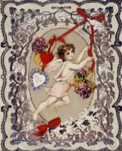valentines day vintage card with cupid