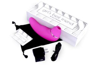 this is a stock photo of the sweet vibrations personal pleasure object with accessories and box